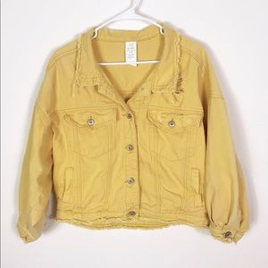 Mustard Yellow Destroyed Cropped Denim Jean Jacket
